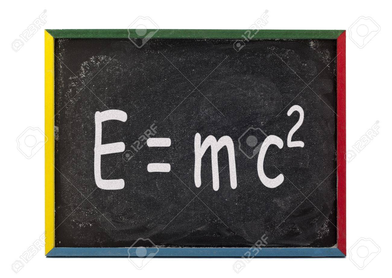 Scientific formula written on slate board and displayed over white bacjground. Stock Photo - 16977233