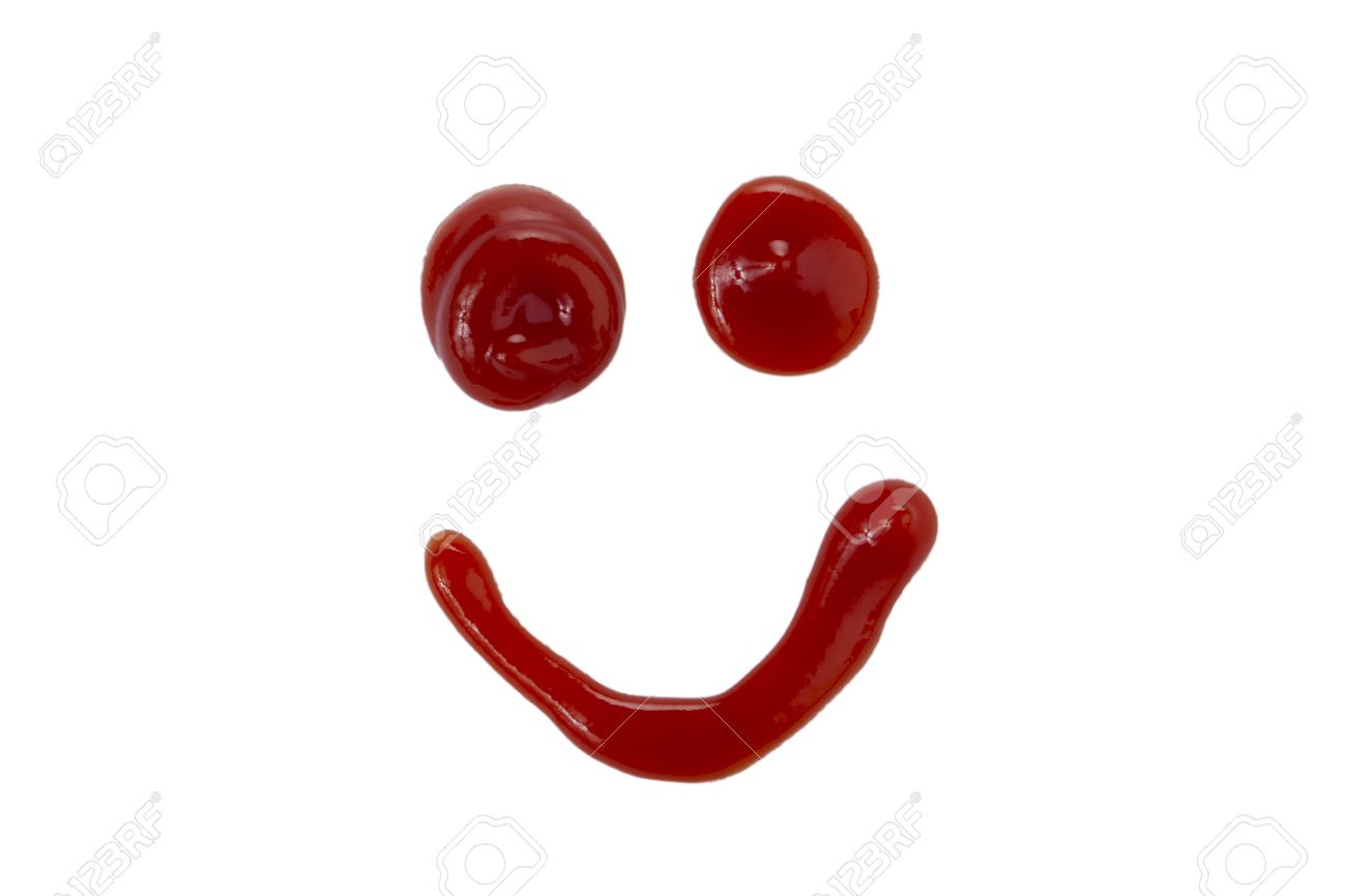 Close up image of happy face made of ketchup Stock Photo - 16973068