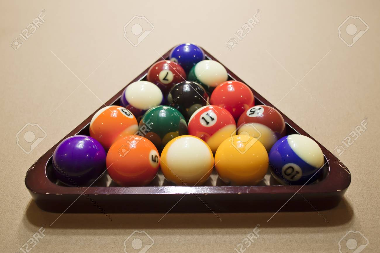 Poll Balls Arranged In Rack On Pool Table Stock Photo Picture And - How to rack a pool table