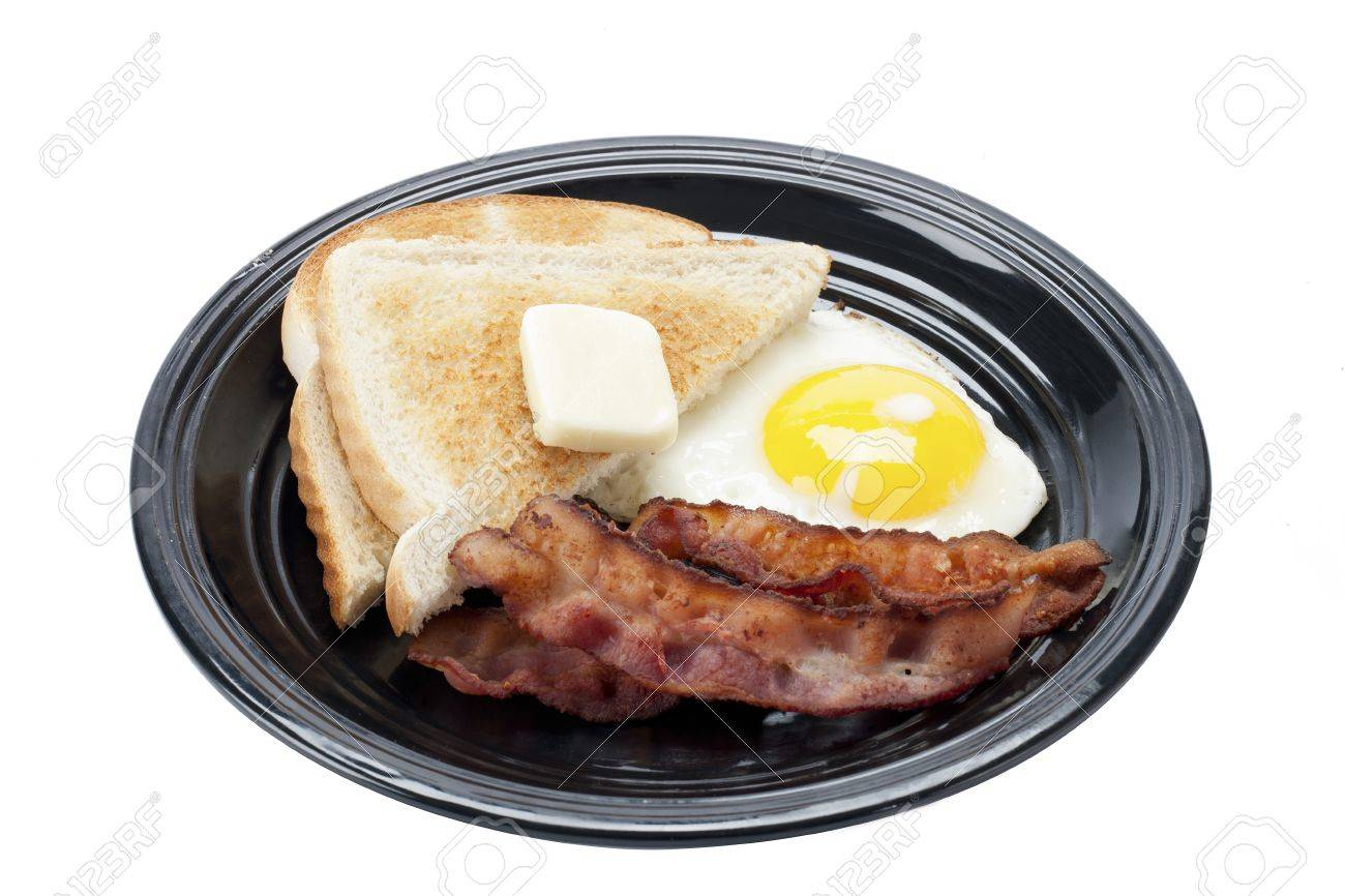 Tasty breakfast in a plate displayed over white background. Stock Photo - 16995051