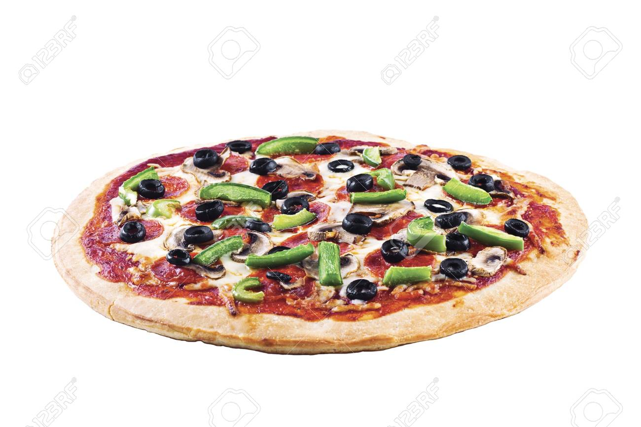 Closeup shot of a pepperoni pizza against plain white surface. Stock Photo - 16995015