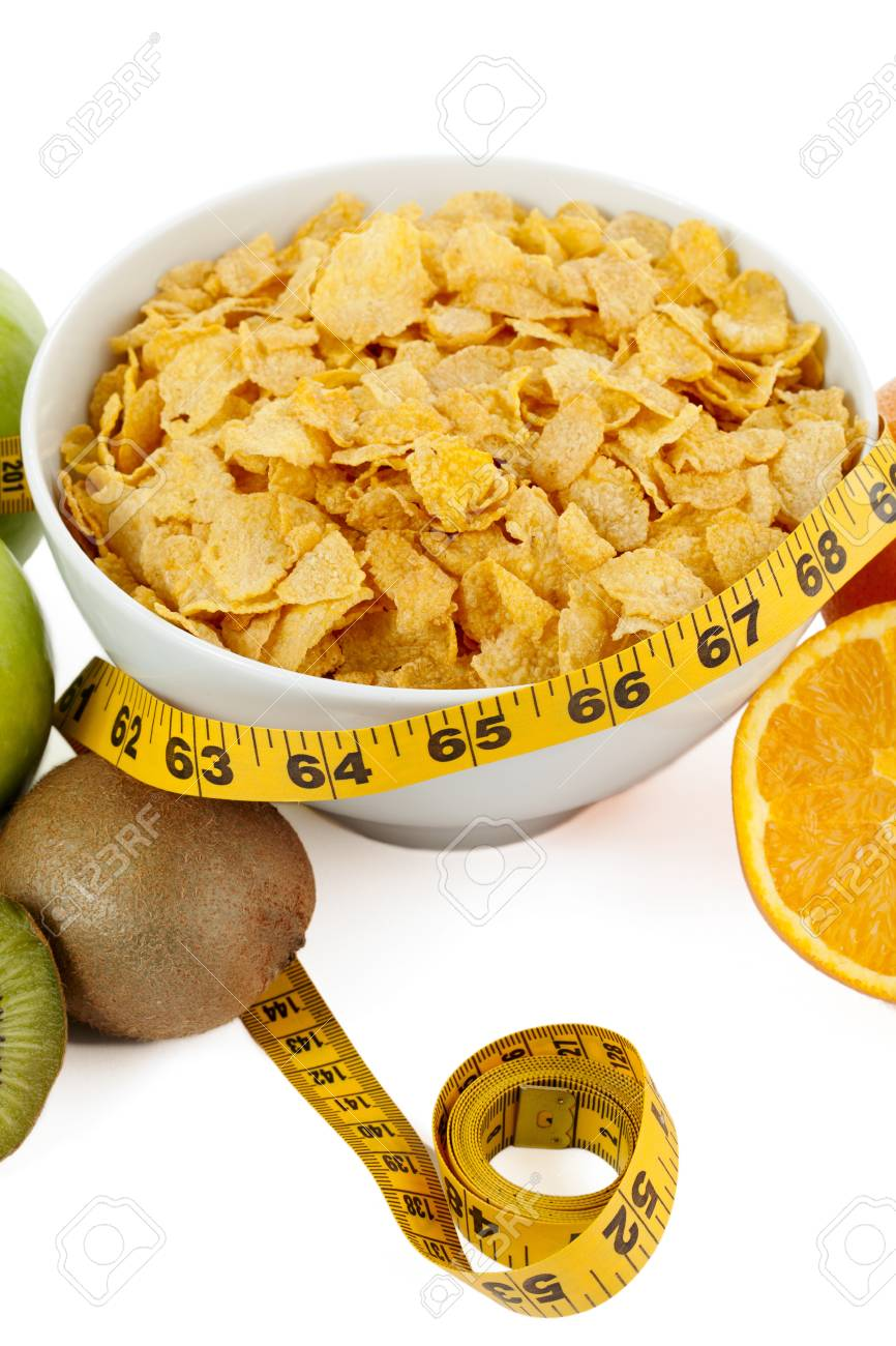 An image of a cropped image of fruits on both side of cereal bowl Stock Photo - 16998720