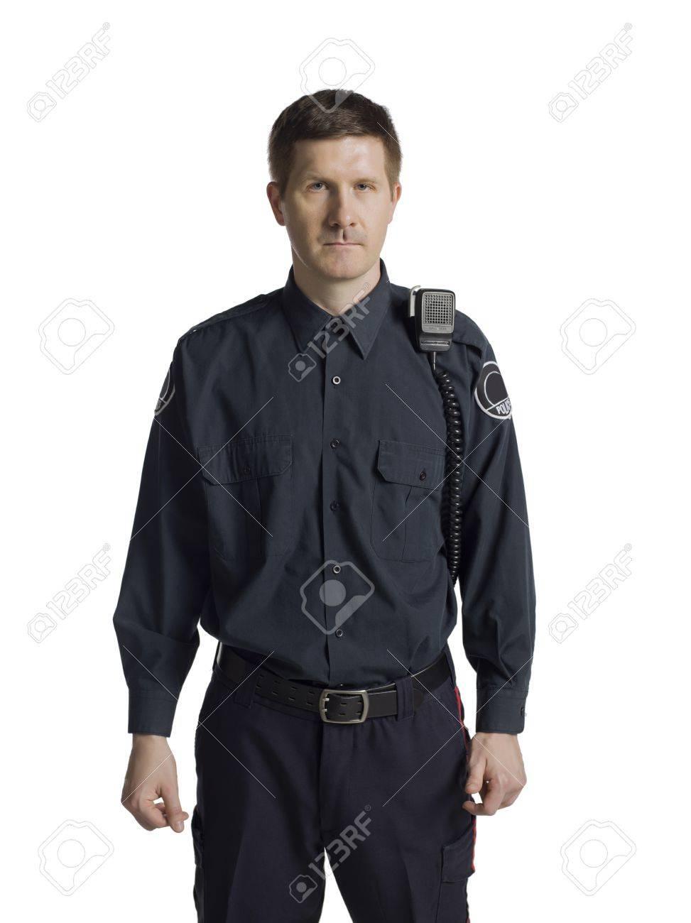 Mid-adult policeman with radio Stock Photo - 17071041