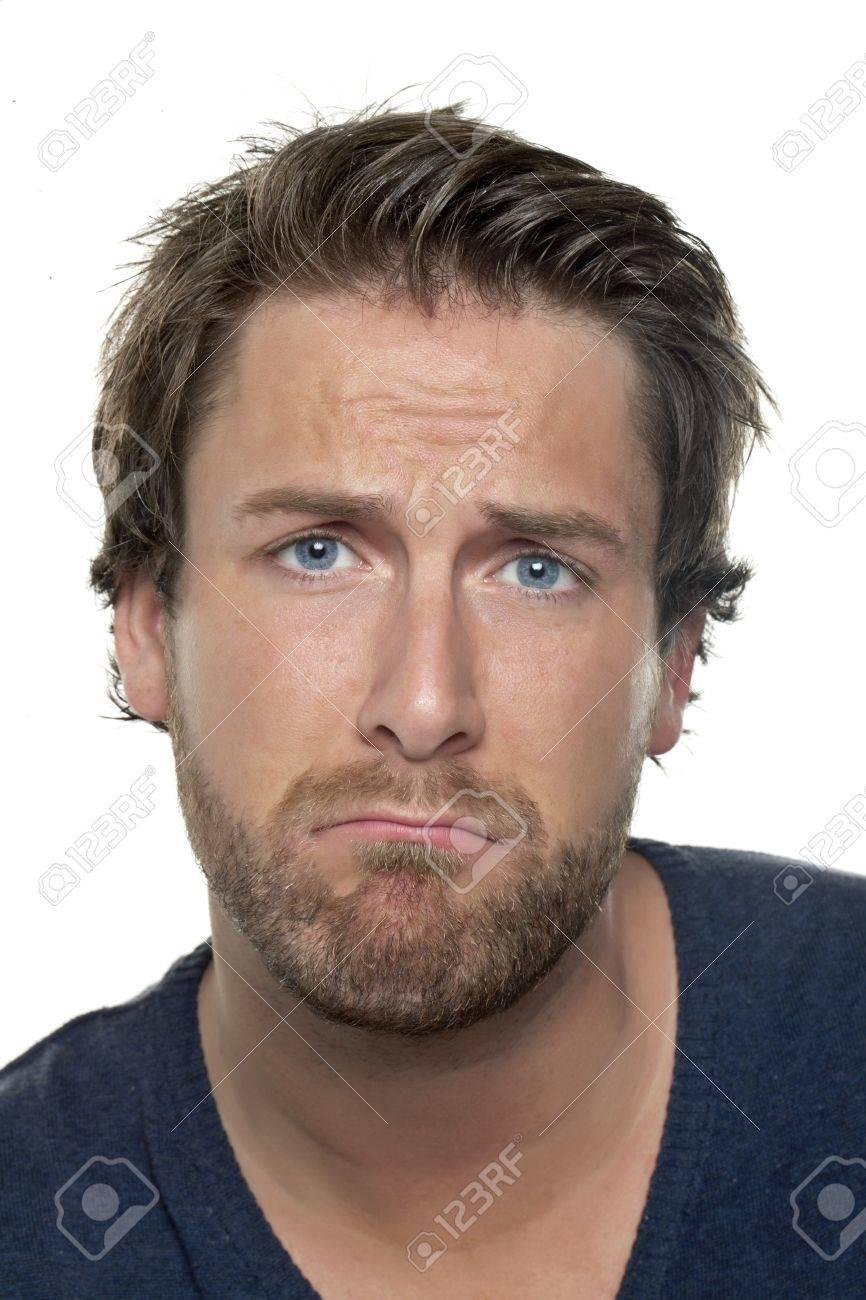 Close Up Bild Von Einem Mann Der Trauriges Gesicht Gegen Den Weissen