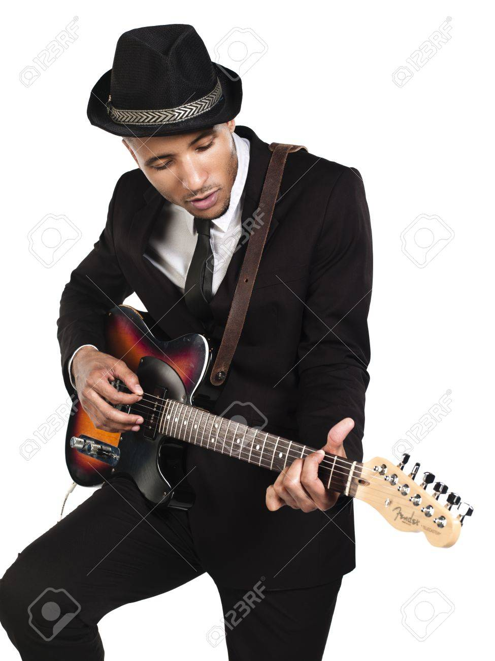African American young businessman playing guitar over white background, Model: Kareem Duhaney Stock Photo - 17110683