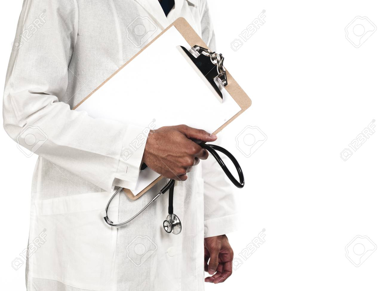 Midsection of a doctor holding stethoscope and clipboard against white background. Model: Kareem Duhaney Stock Photo - 17100978