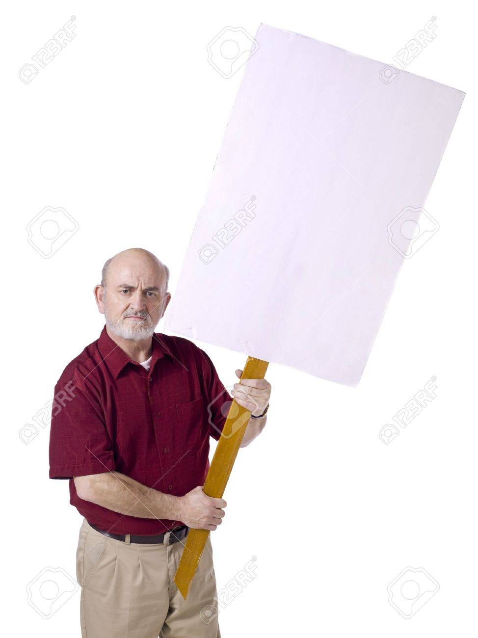 Image of old man with white protest banner against white background Stock Photo - 17135089