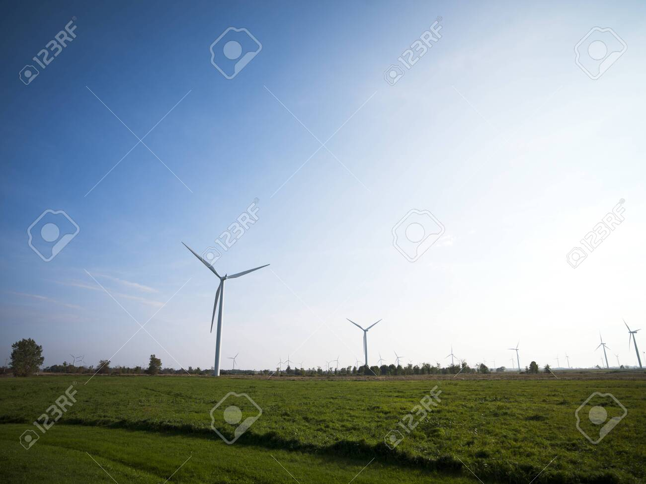 View of a wind turbines at field with clear sky in background. Stock Photo - 17148354