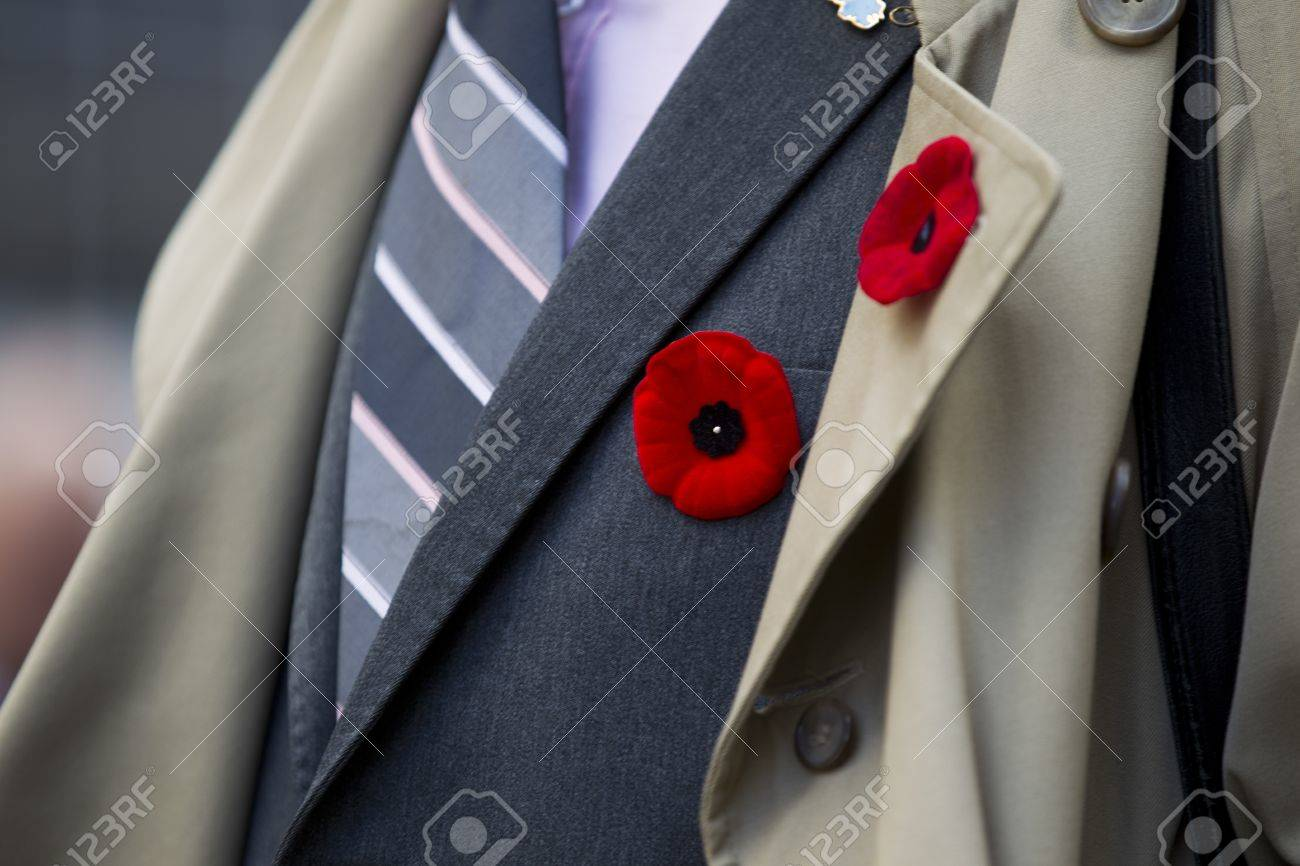 Extreme close-up shot of red flower attached on men's suit. Stock Photo - 17148538