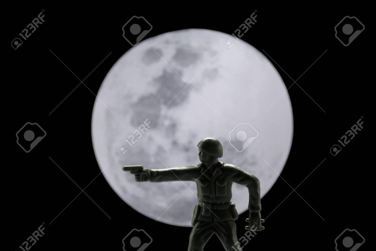 Close-up image of a brave soldier fighting against the moon Stock Photo - 17142392