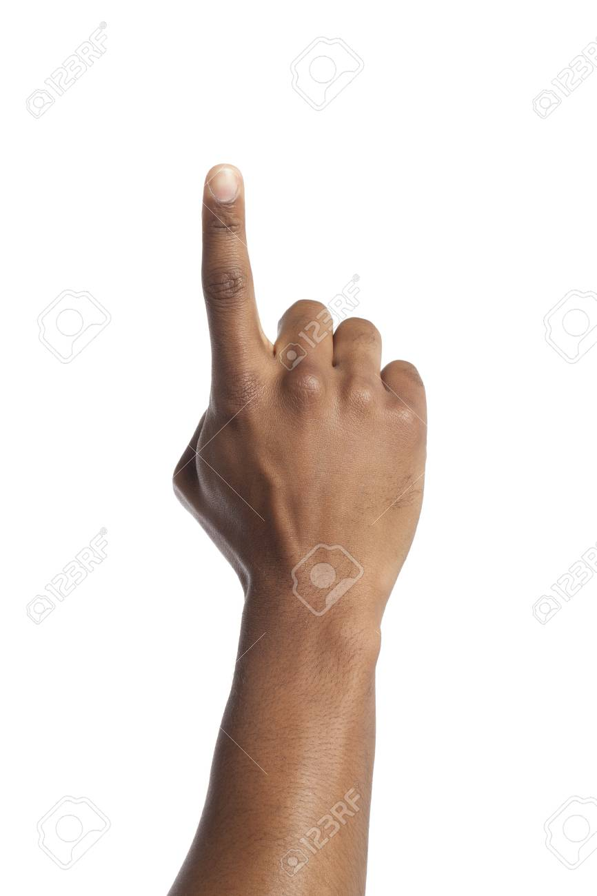 Close-up image of a human hand pointing over the white surface Stock Photo - 17141549