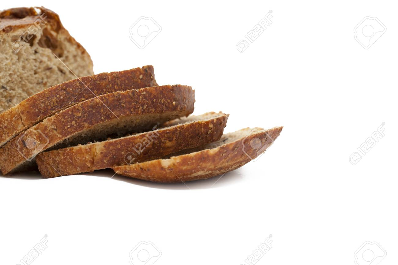 Stock Photo of loaf and slices of whole wheat bread isolated on white background Stock Photo - 17141491