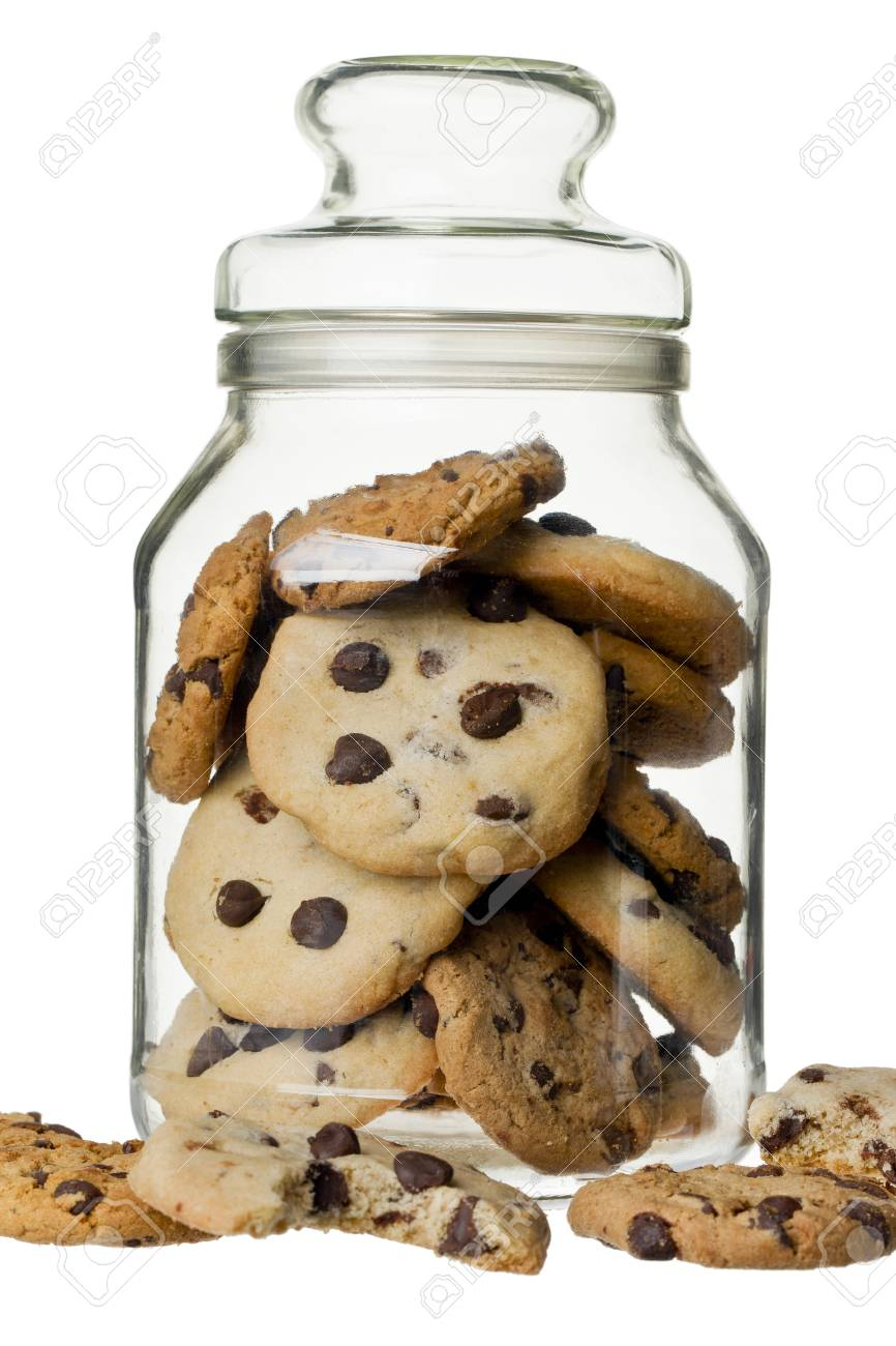 Glass jar with cookie on a white background Stock Photo - 17152912