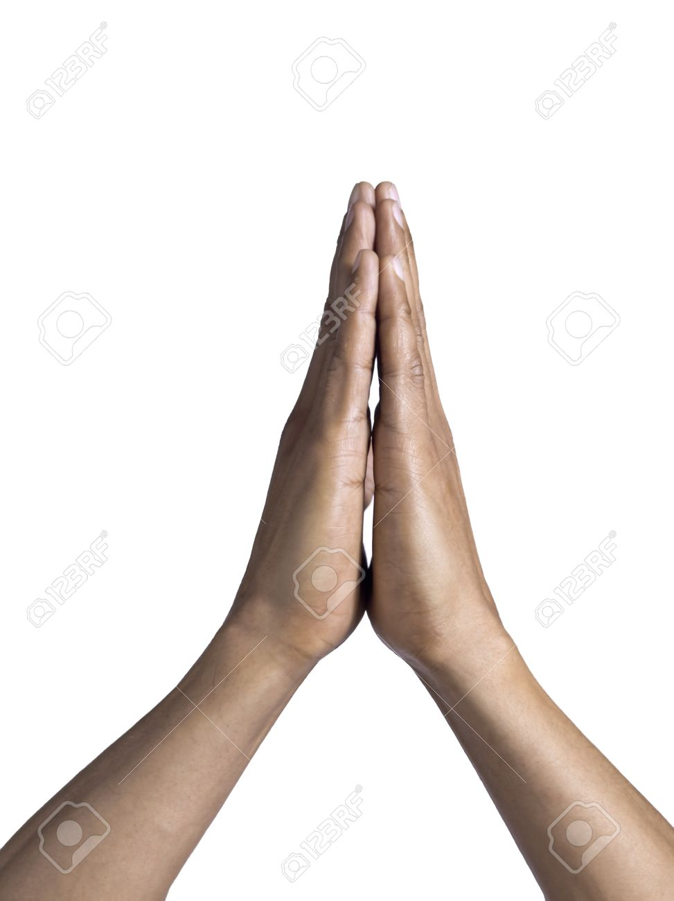 isolated image of a man s praying hands over a white background