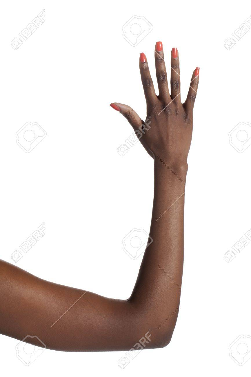 Close-up image of a human hand counting five against the white background Stock Photo - 17151565