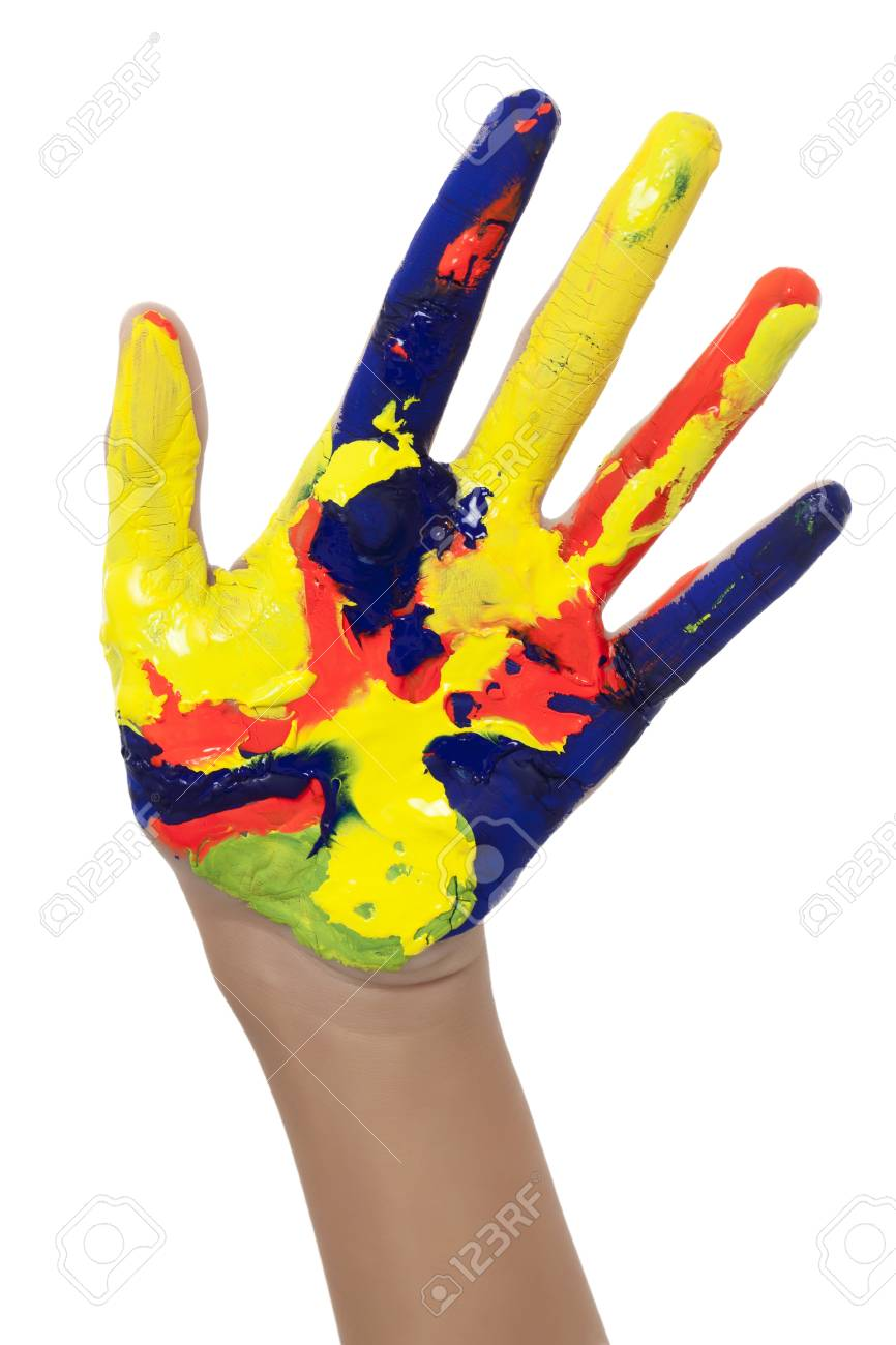 Cropped image of a girls painted hand isolated on white Stock Photo - 17183260