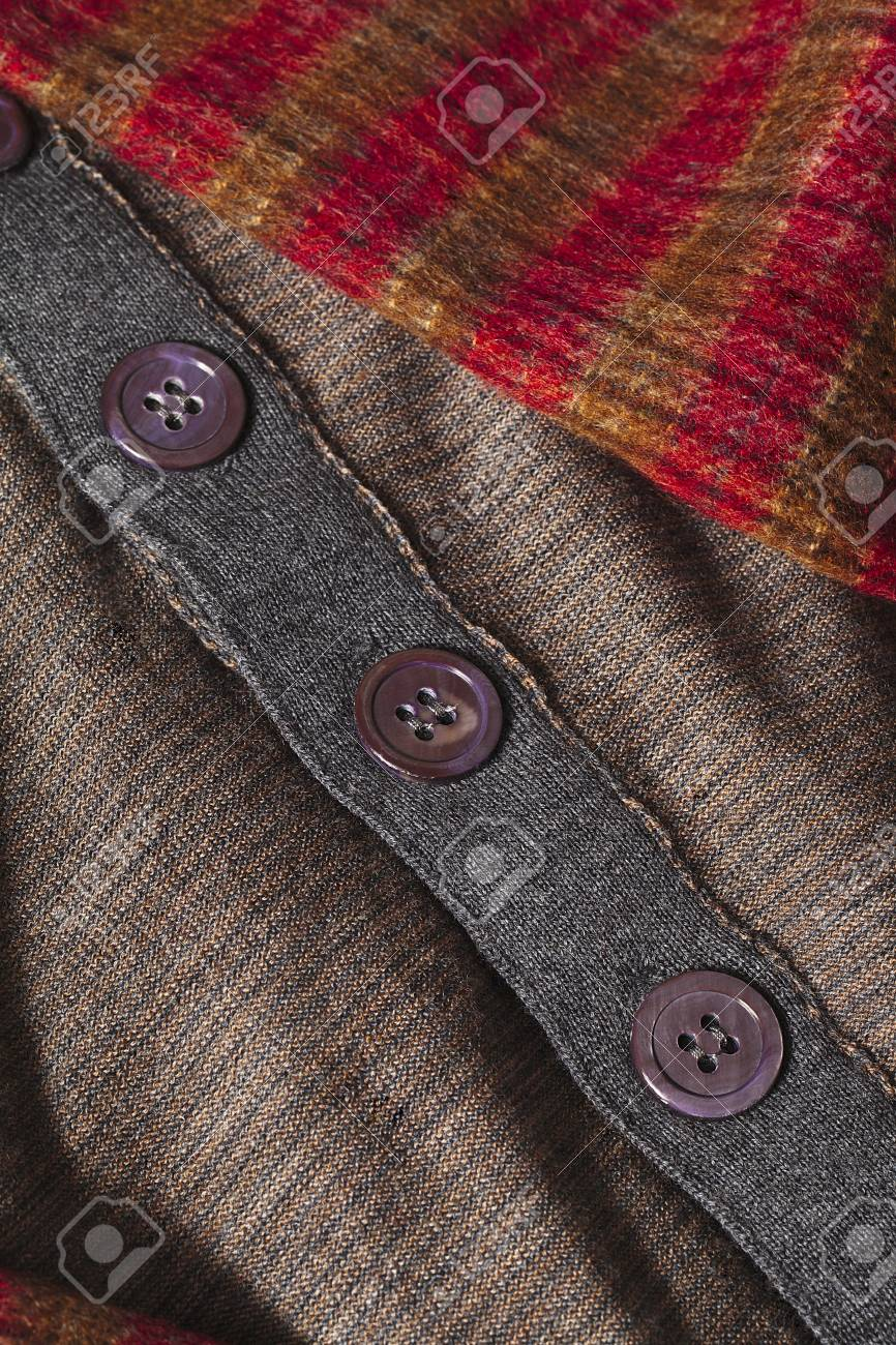 Checkered scarf and brown clothes isolated on Stock Photo - 17210613