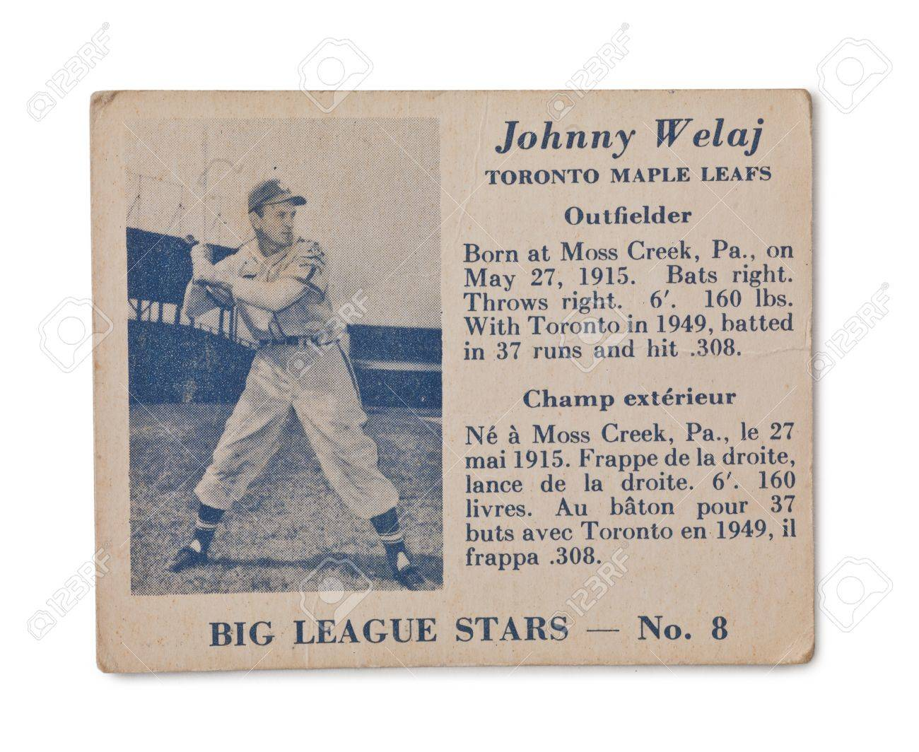 Old Baseball card with Johnny Welaj profile Stock Photo - 17202112