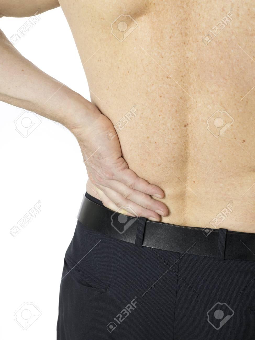 Macro shot of senior man with back pain Stock Photo - 17206183