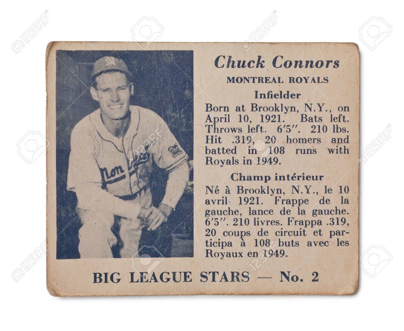 Vintage Chuck Connors Baseball Card Montreal Royals Infielder