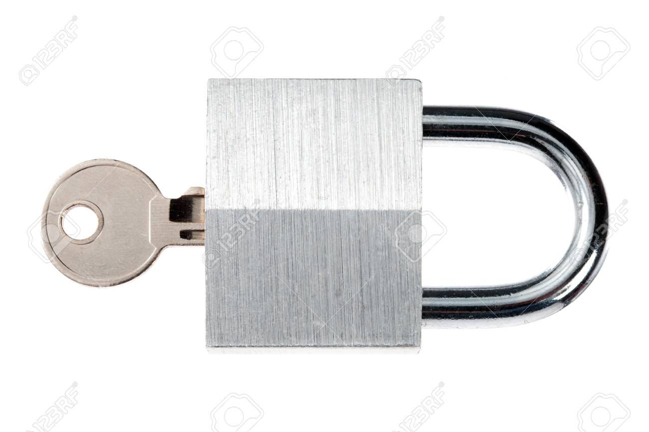 Close-up shot of shiny padlock and metallic key against white background. Stock Photo - 17226226