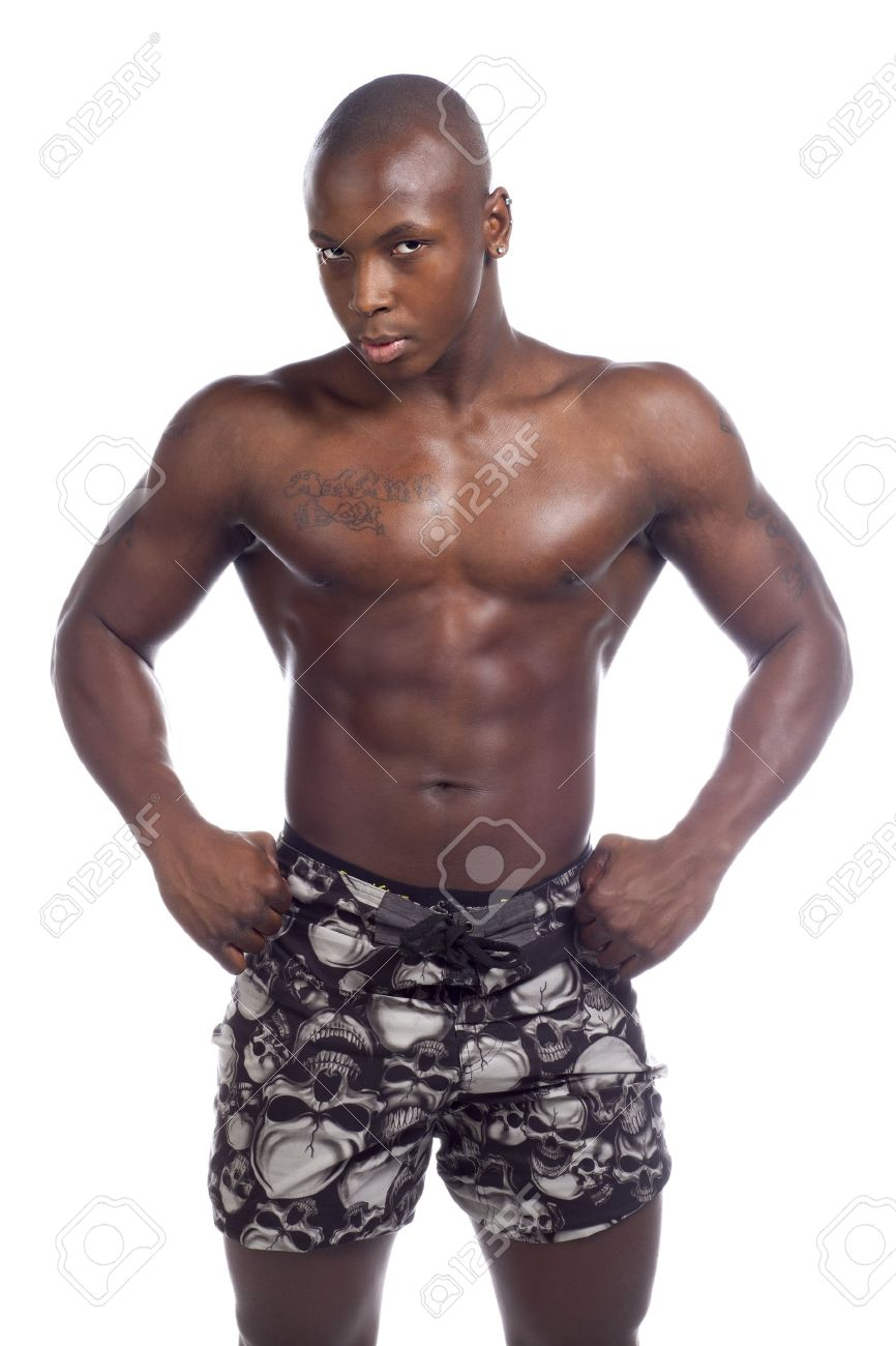 Portrait of black man with muscular body isolated in white background Stock Photo - 17244454