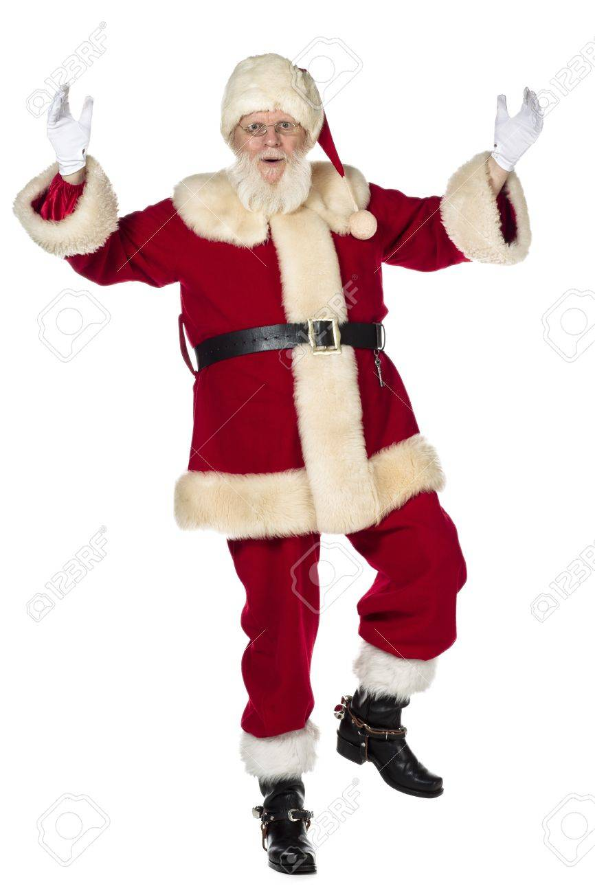 Dancing Santa Claus With Racing His Hand And Left Foot Stock Photo Picture And Royalty Free Image Image 17244685
