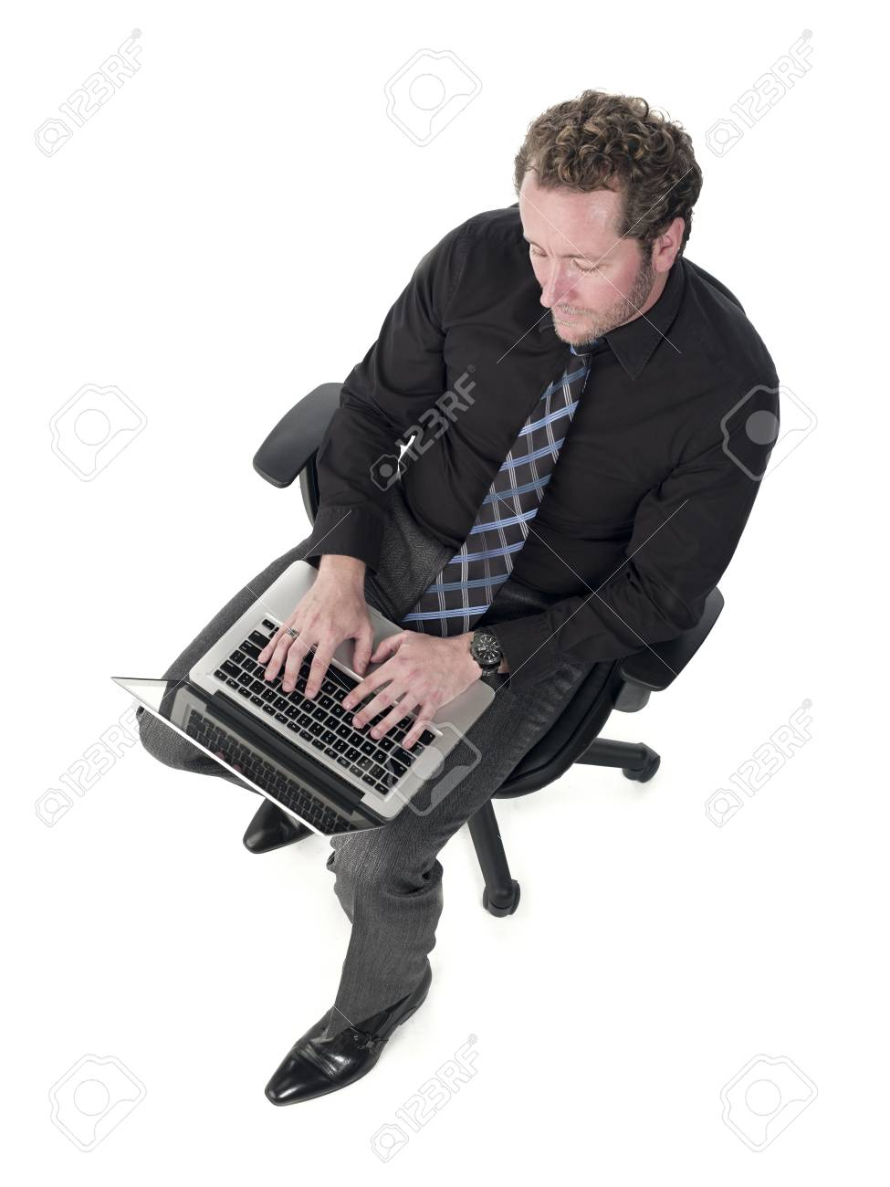 Doctor working on a laptop over white background, Model: Derek Gerhardt Stock Photo - 17244324