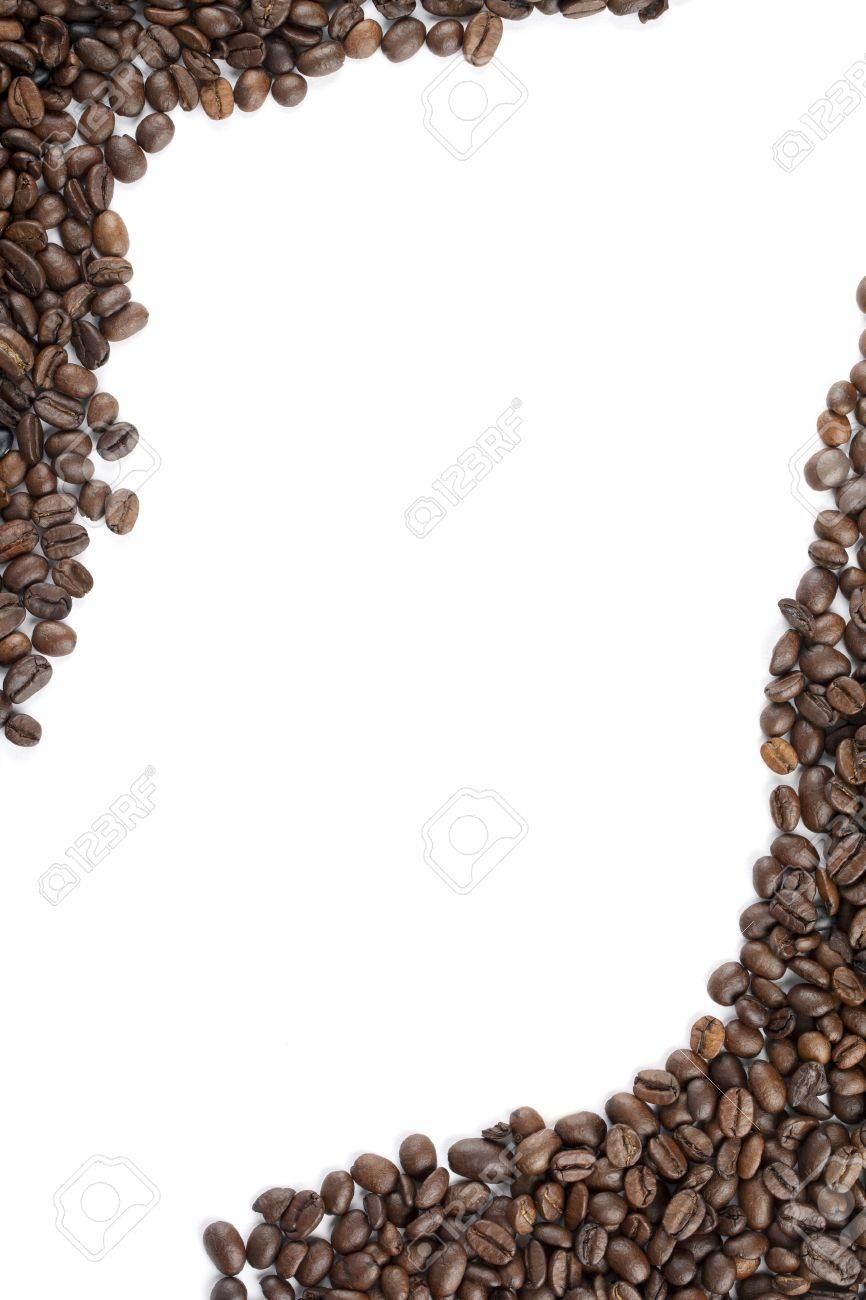 Background image vertical center - Stock Photo Vertical Image Of Roasted Coffee Beans Shoved At The Corner Creating A Space At The Center Of A White Background