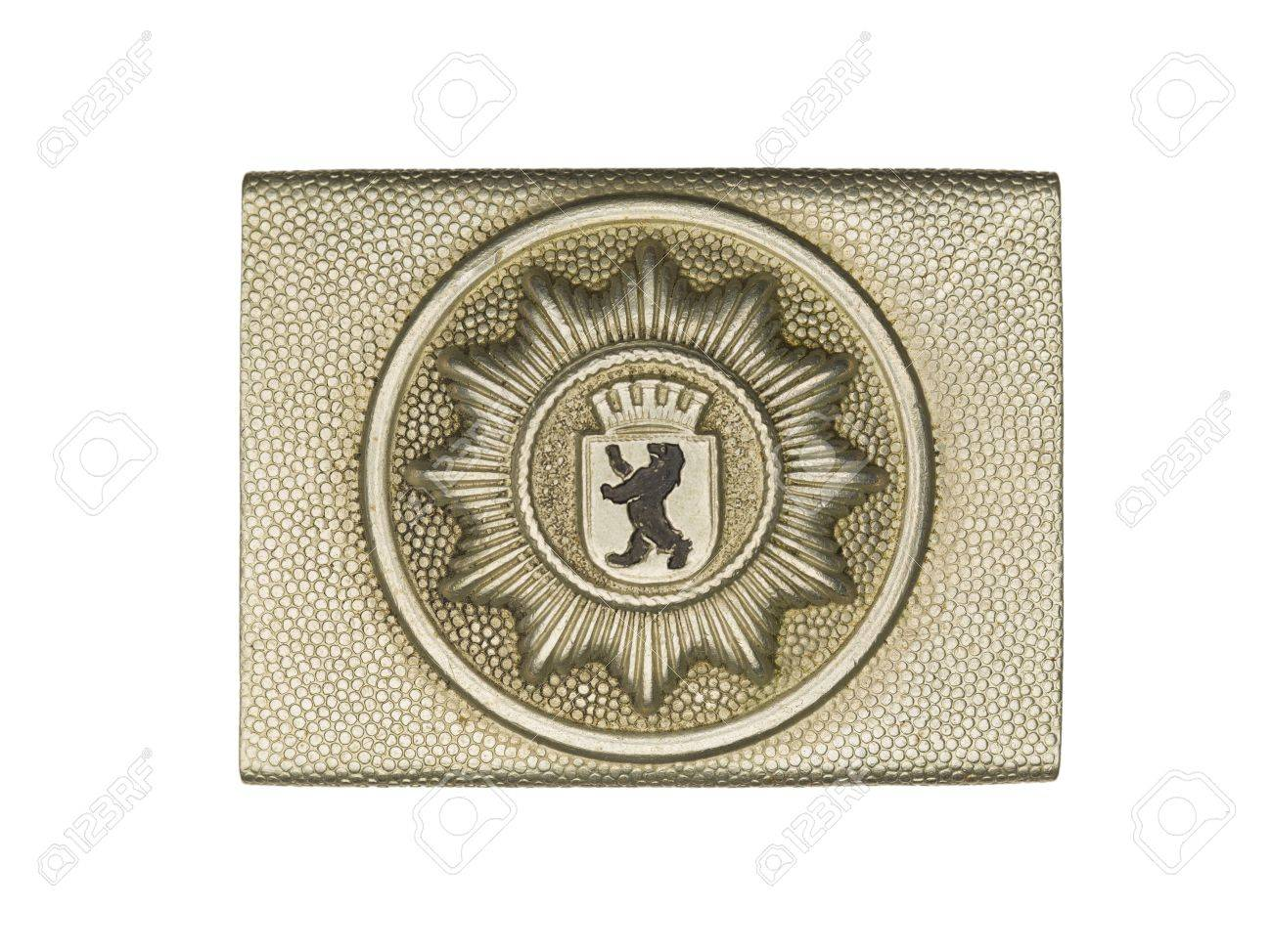 Close-up shot of a army belt buckle with lion symbol on it. Stock Photo - 17251439