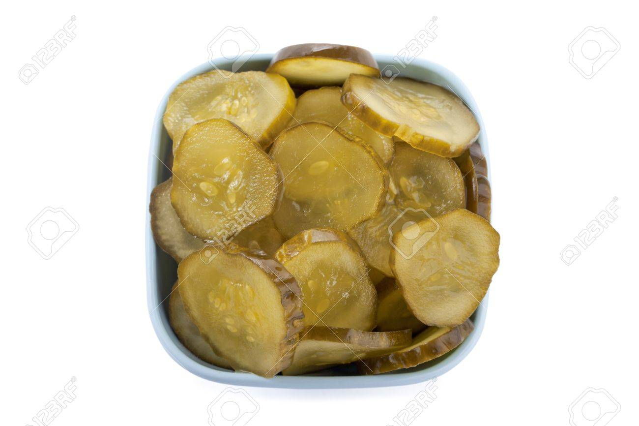 A bowl of Dill Pickle Slices in a top view image Stock Photo - 17258514
