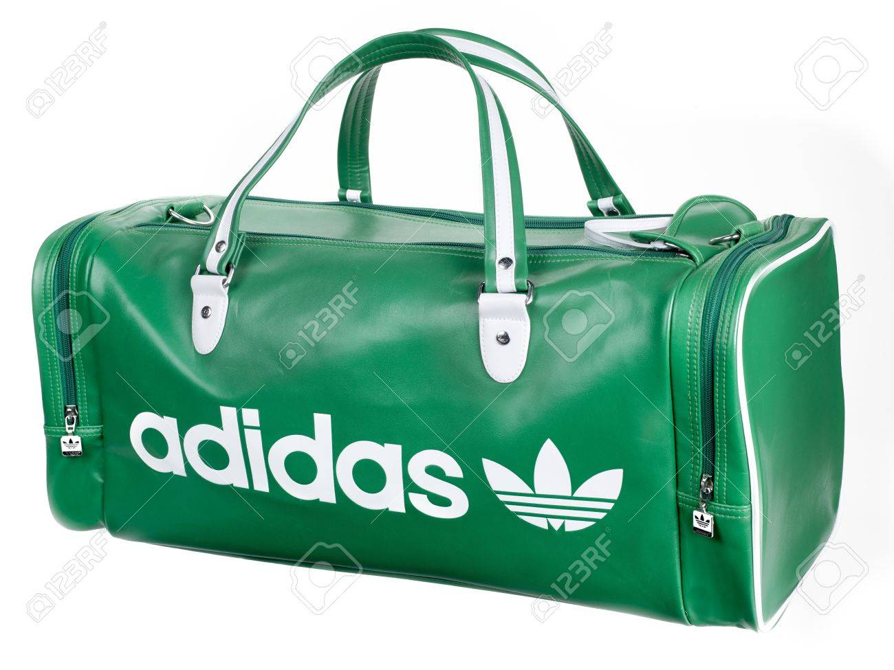 low priced d44a0 a6087 A green Adidas duffel bag with white accents Stock Photo - 17326639