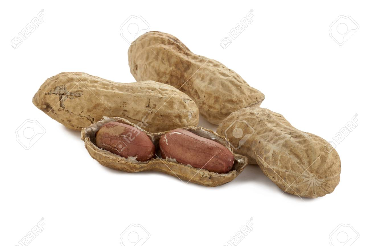 Close up image of organic peanuts against white background Stock Photo - 17320640