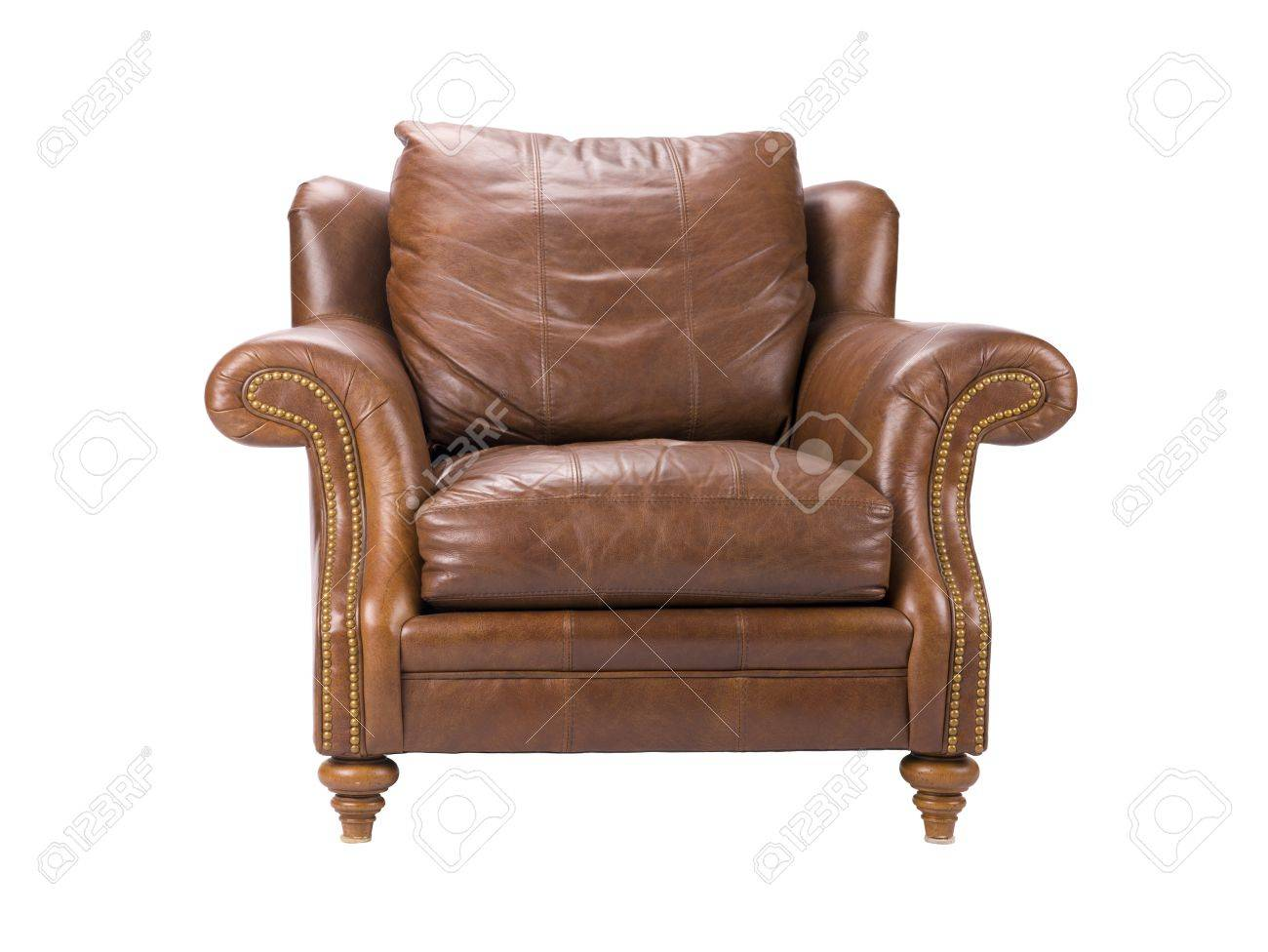photo a fy looking brown leather armchair
