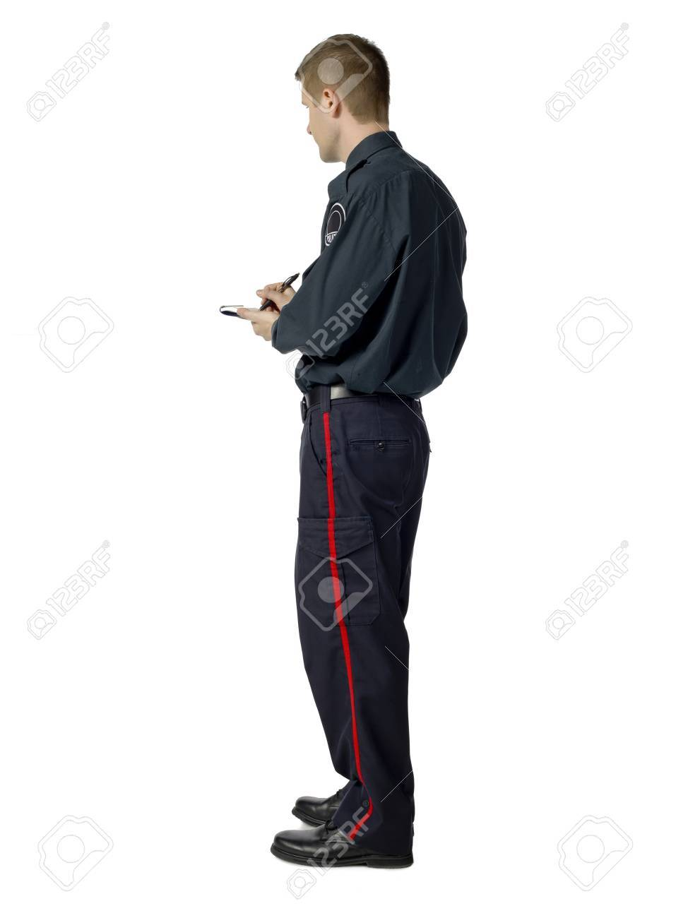 Image of writing policeman against white background Stock Photo - 17378380