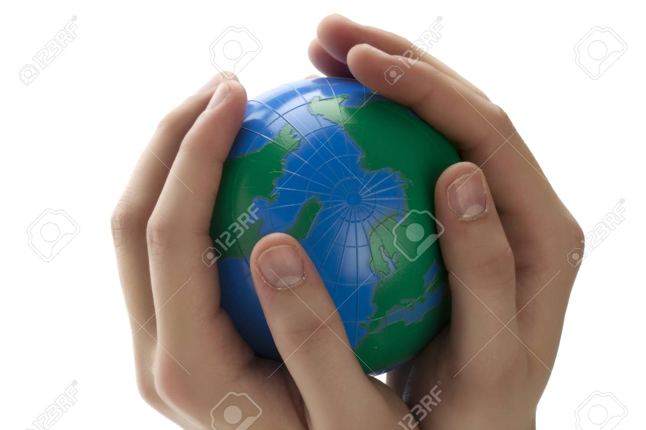 Close up image of  a human hands holding a globe Stock Photo - 17486297