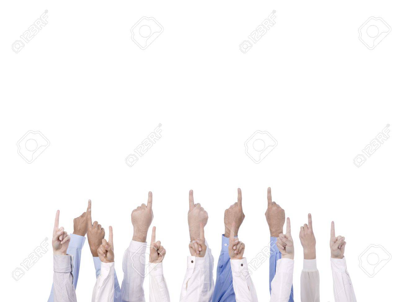 Group of hands pointing upward isolated in a white background Stock Photo - 17484667
