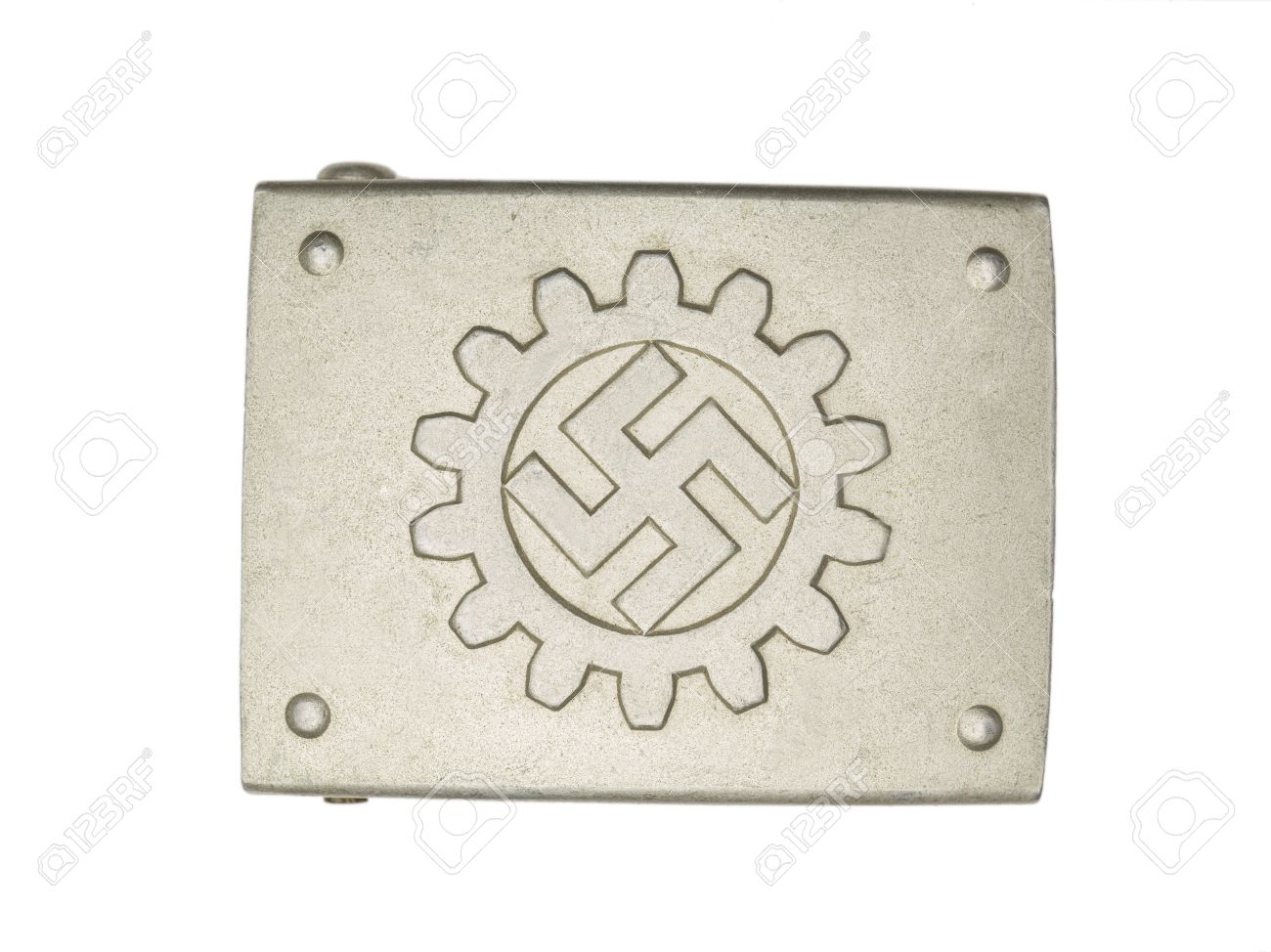 Close-up shot of a German military belt buckle with swastika sign. Stock Photo - 17488197