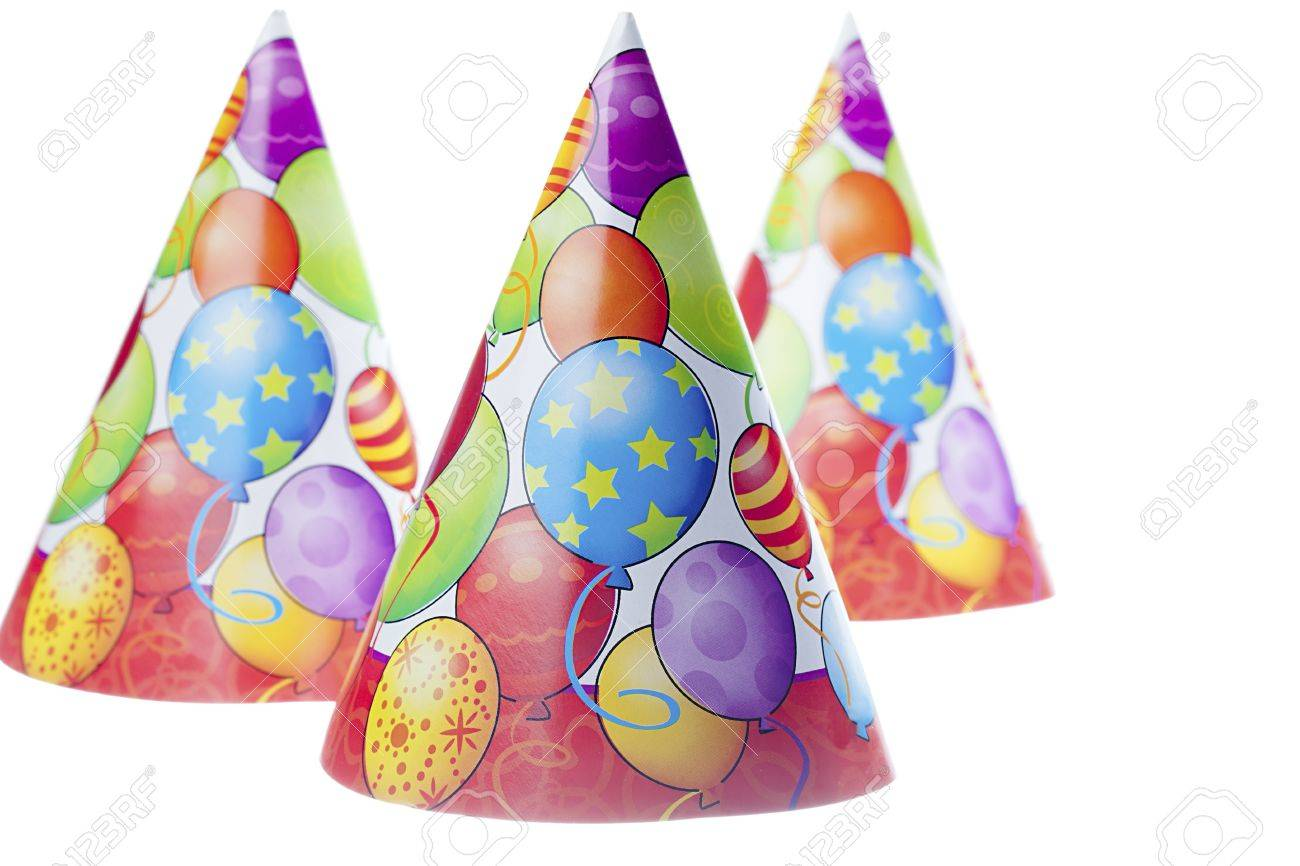 close up image of three birthday hats with colorful balloon design