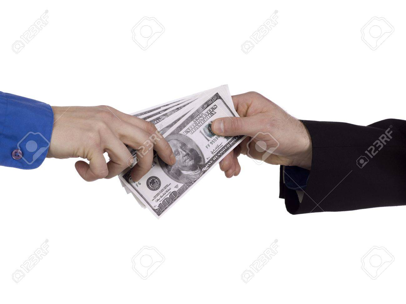 Illustration of a man's hand giving dollars to another person Stock Illustration - 17496445