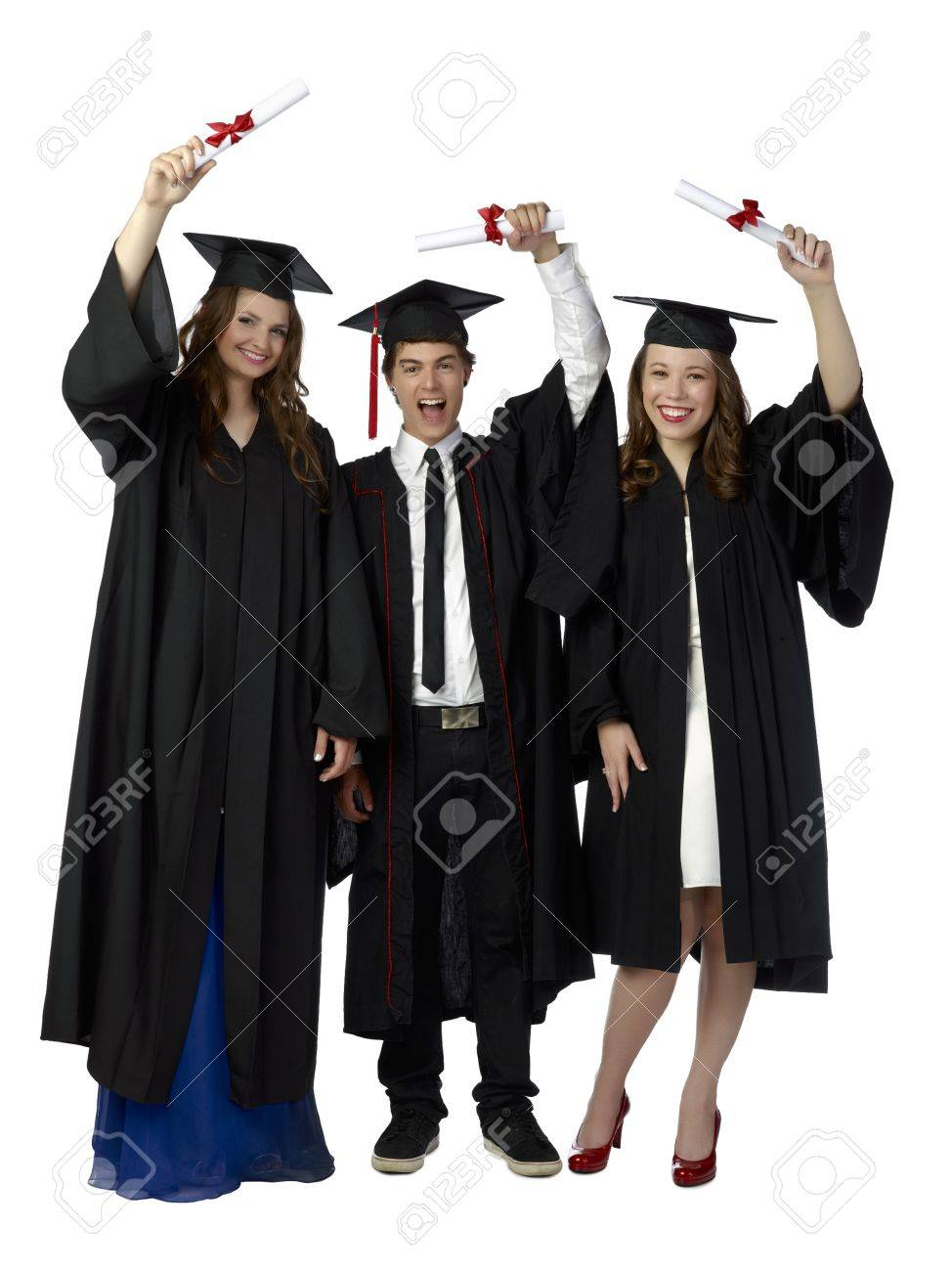 portrait of a group of graduating students mortarboard and  portrait of a group of graduating students mortarboard and diploma stock photo 17516711