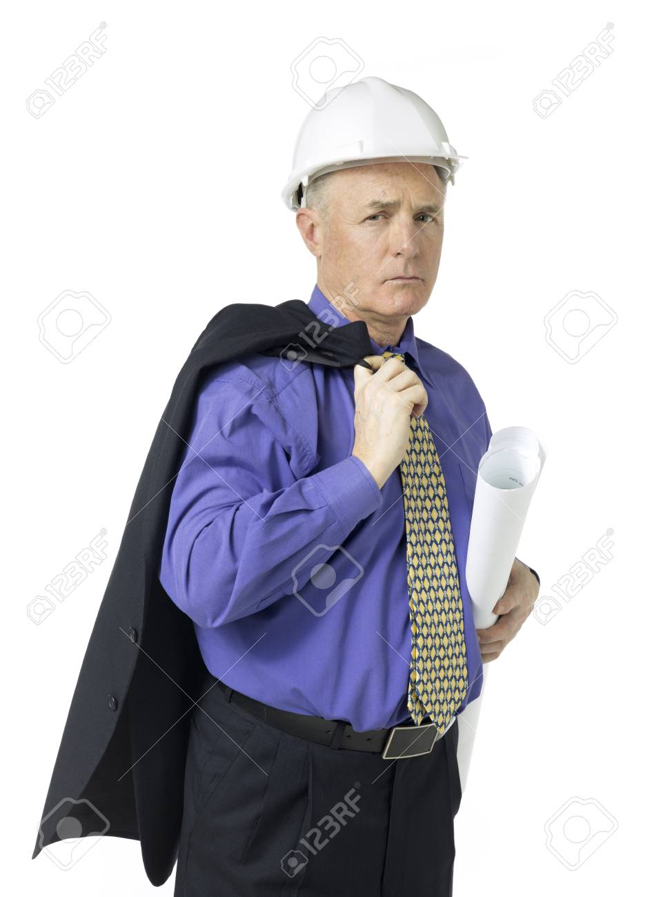 Portrait of architect holding a plan against white background Stock Photo - 17518964