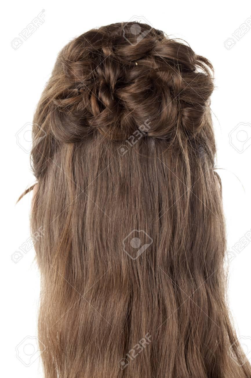Rückansicht Bild Der Frau Die Haare Mit Kreativen Zopf Frisuren
