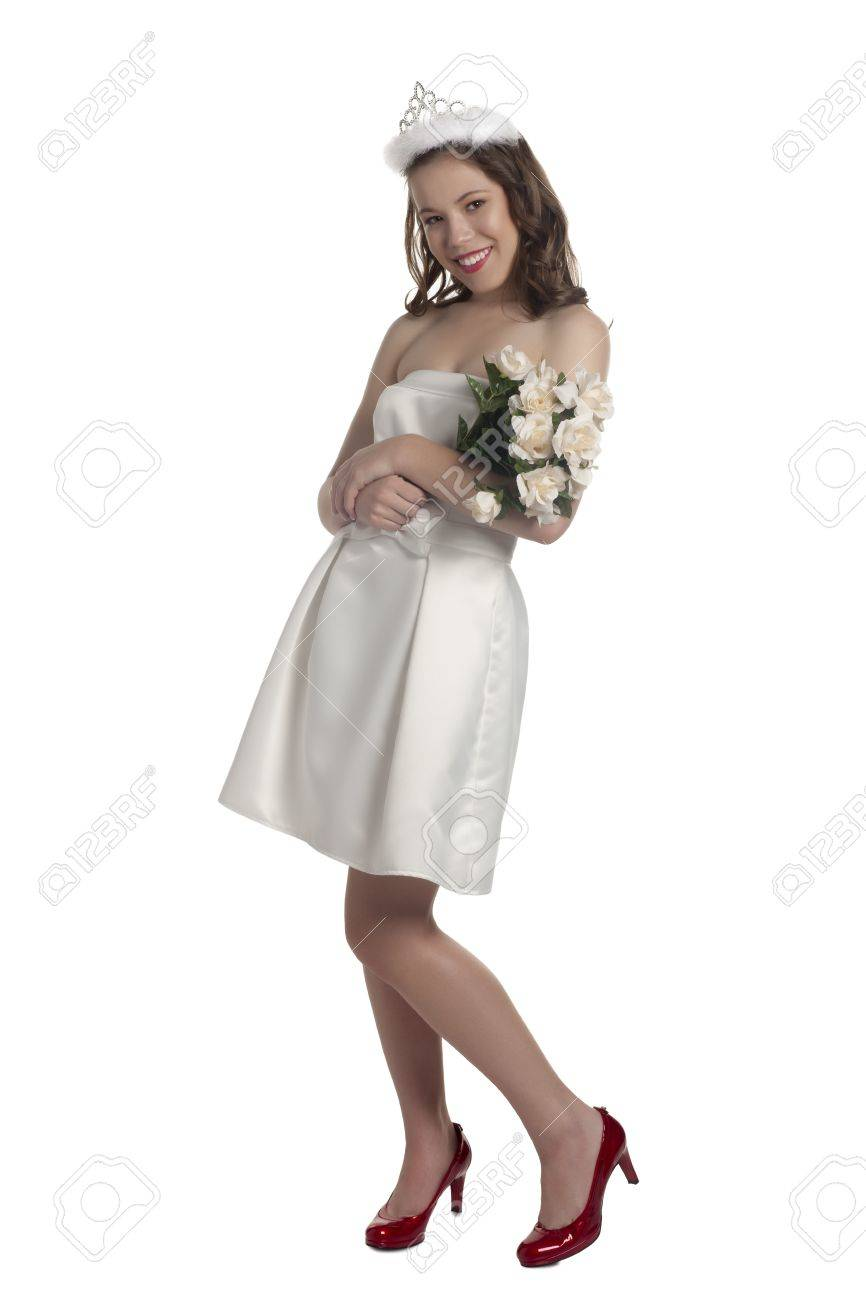 Portrait Of A Prom Queen With Crown And Flowers Wearing White ...