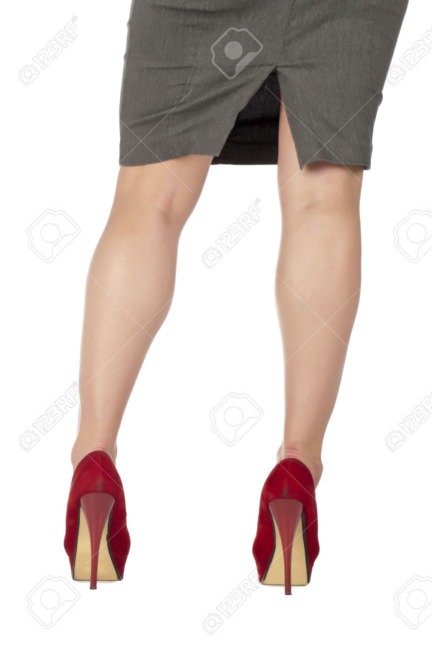 Rear View Image Of A Woman's Legs Wearing Red High Heels Stock ...