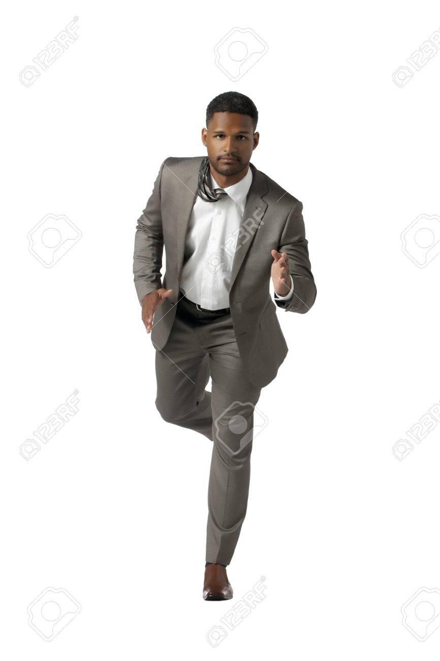 Portrait of running businessman against white background Stock Photo - 17519649