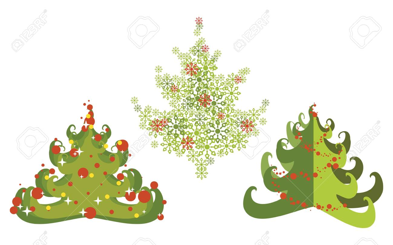 Immagini Stilizzate Di Natale.Insieme Di Immagini Stilizzate Di Un Albero Di Natale