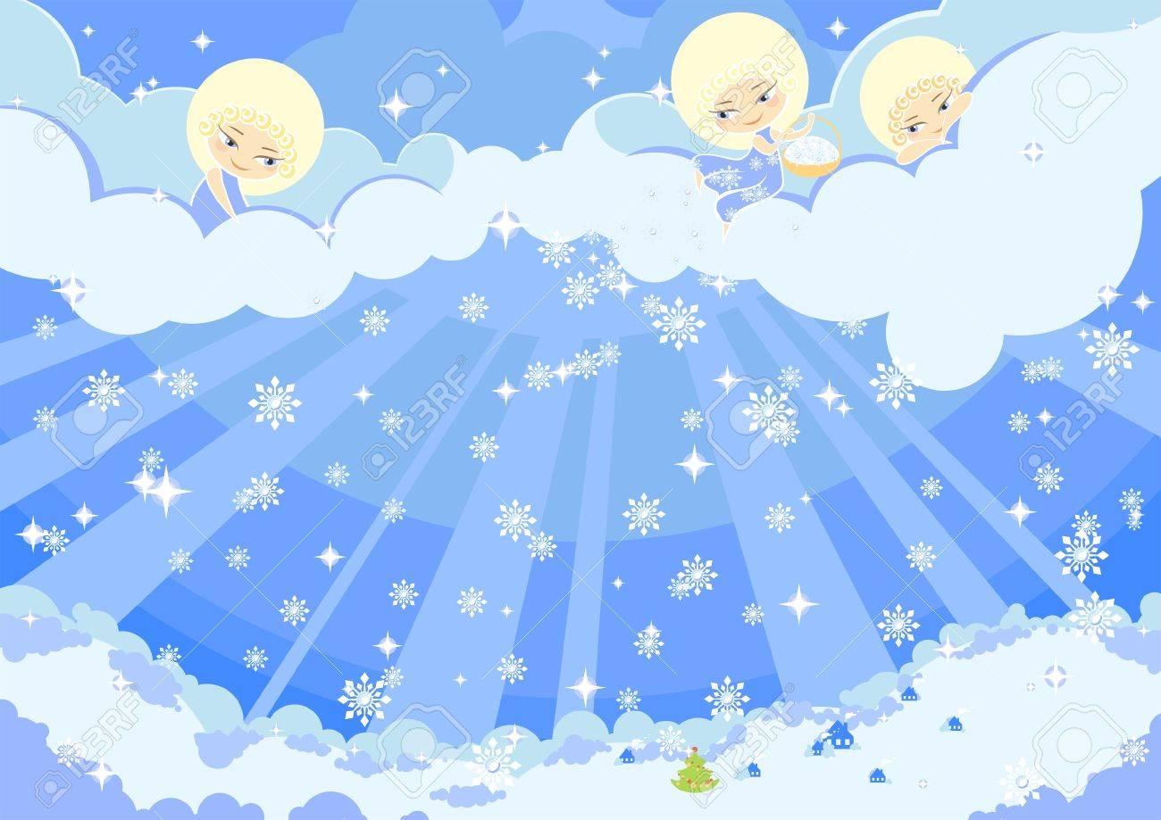 Illustration Der Drei Süße Engel Machen Schnee über Einer Stadt