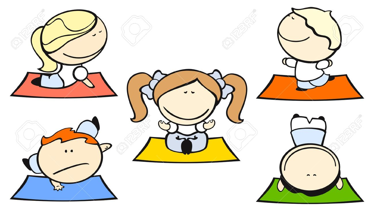 Set Of Images Funny Kids On A White Background 29 Yoga Theme Stock