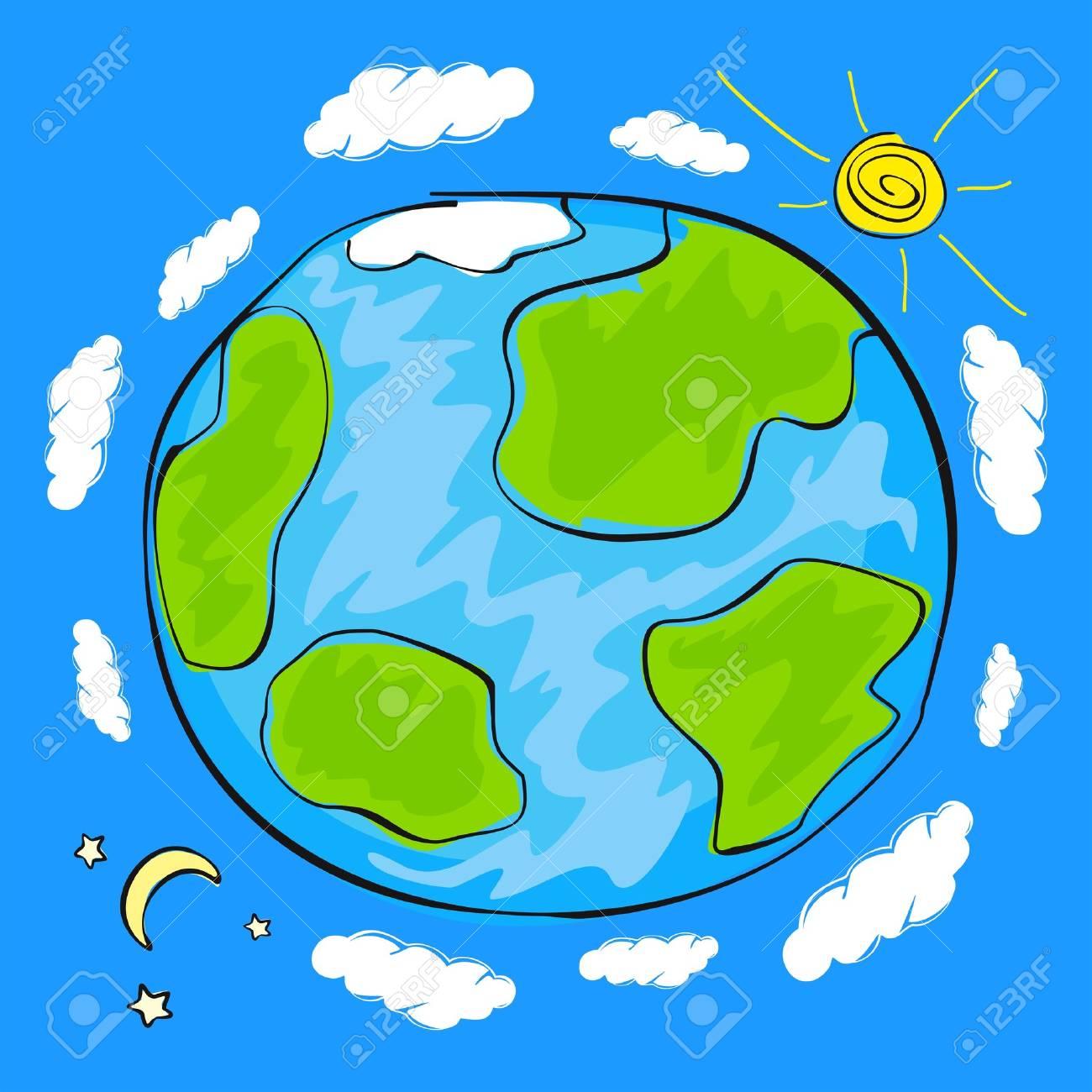 Dibujo Del Niño Del Planeta Tierra
